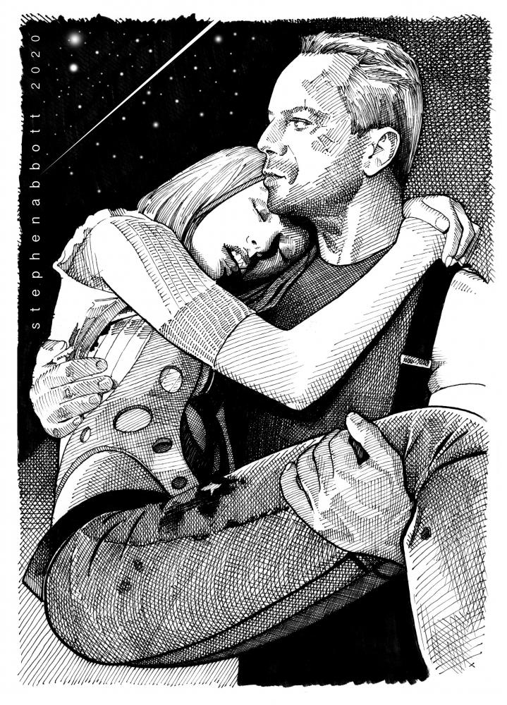 Bruce Willis, Milla Jovovich by Stefanosart